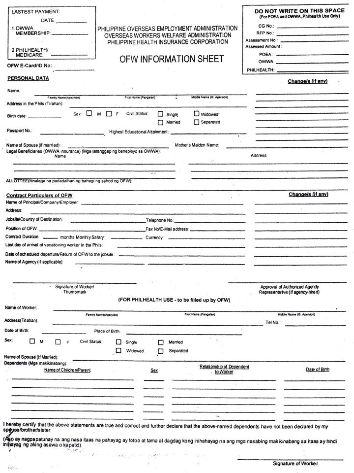 OFW%20Information%20Sheet Sample Application Form For Employment Philippines on dental assistant, namibia government, sample daycare, mra examples, day care, free printable blank, free construction,