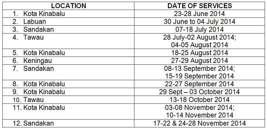 PROPOSED SCHEDULE OF CONSULAR SERVICES FOR THE REST OF 2014